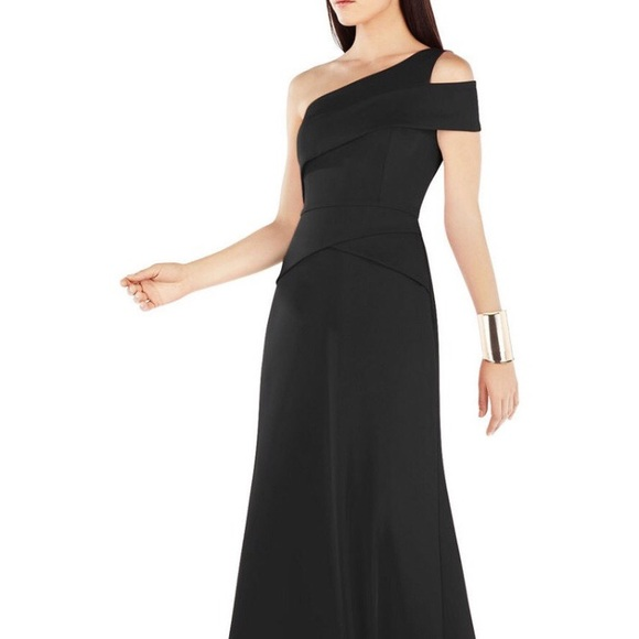 BCBGMaxAzria Dresses   Bcbg Maxazria Annely One Shoulder Black Gown ...